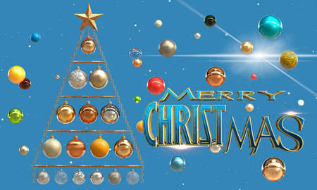 Christmas tree made of metal elements and multi-colored balls. 3D rendering
