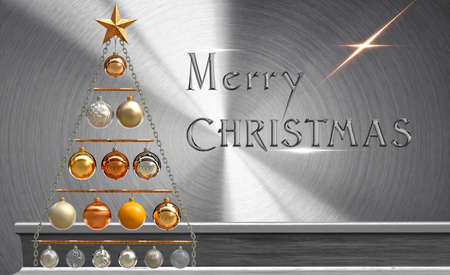 Merry christmas - holiday poster on brushed metal surface
