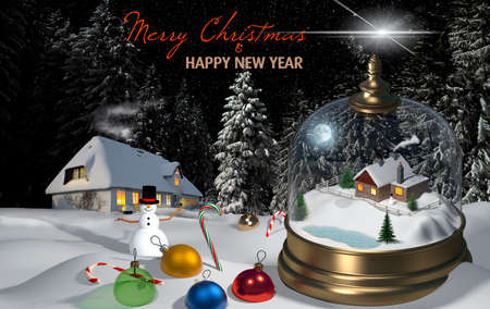 Christmas snow globe and Christmas tree decorations in the snow. 3D rendering, mixed media.