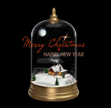 Christmas snow globe with a house on a snowy hill near the lake, 3D rendering. Greeting card, banner, poster