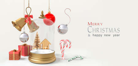 Christmas snow globe and Christmas tree decorations. 3D rendering
