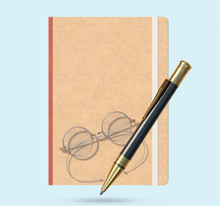 Notepad, antique metal frame glasses and ballpoint pen. 3D rendering