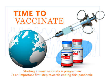 A medical needle enters the globe. Vials with vaccine against