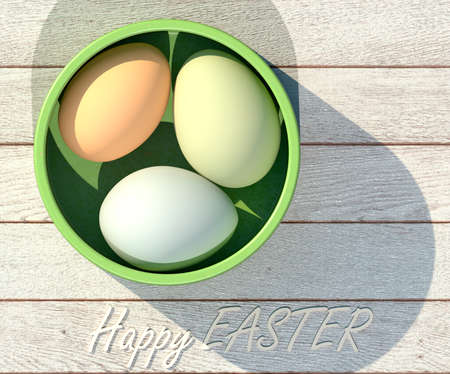 Happy easter poster. Easter eggs in a ceramic cup. 3D rendering Stok Fotoğraf