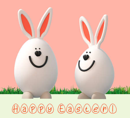Happy easter poster. Easter eggs with decor. 3D rendering