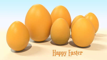 Happy easter poster. White eggs with decor. 3D rendering
