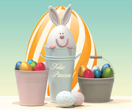Happy Easter - Portuguese language poster. Easter bunny and Easter eggs. 3D rendering