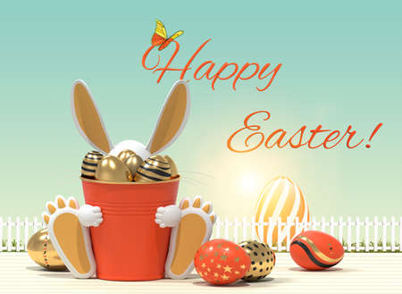Happy easter poster. Easter hare and Easter eggs. 3D rendering