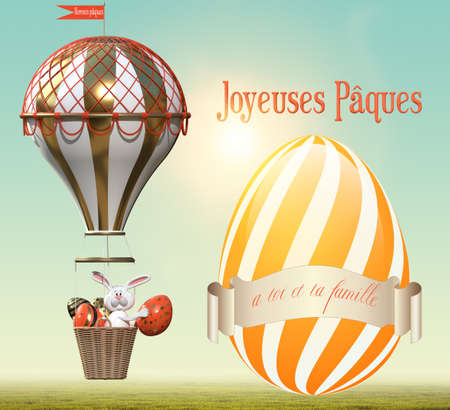 Hare with Easter eggs in a balloon. Easter greetings in French. 3D rendering
