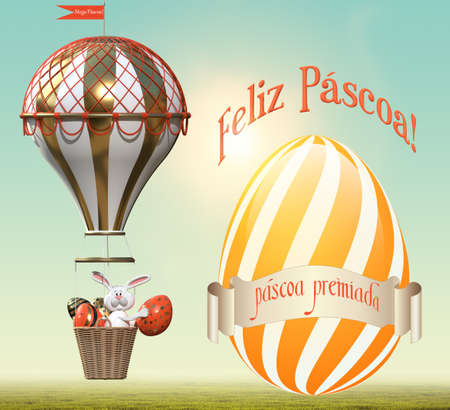 Hare with Easter eggs in a balloon. Easter greetings in Portuguese. 3D rendering