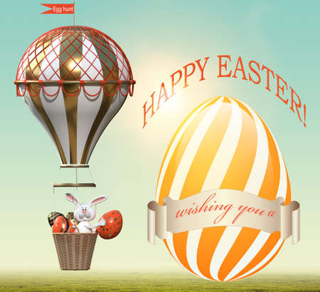 Bunny with Easter eggs in a hot air balloon. 3D rendering