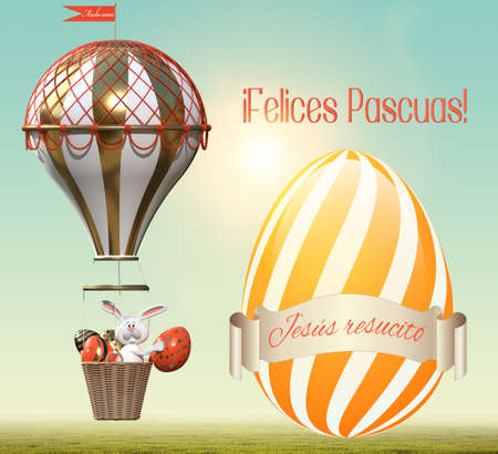 Hare with Easter eggs in a balloon. Easter greetings in Spanish. 3D rendering