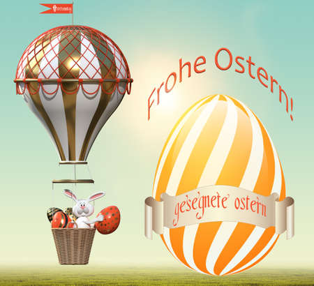 Hare with Easter eggs in a balloon. Easter greetings in German. 3D rendering