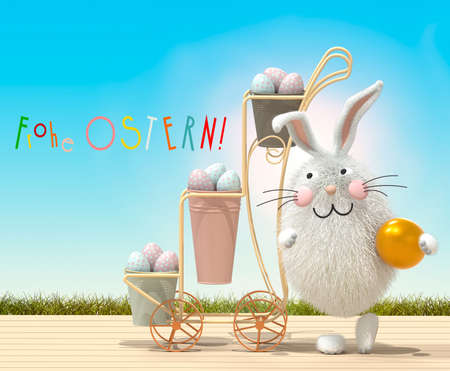 """Trolley with Easter eggs, bunny and greeting in German """"Happy Easter!"""". 3D rendering"""