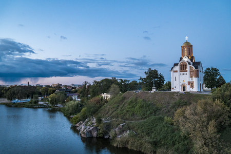 River Ros and Orthodox Church in Evening