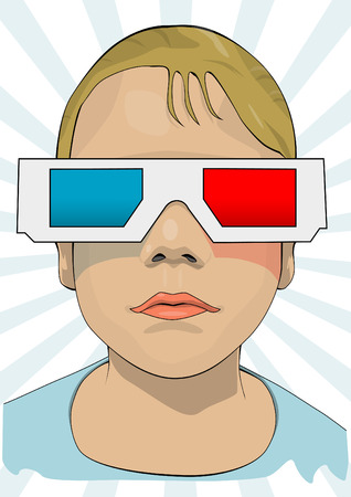 anaglyph: Child with anaglyph glasses Illustration
