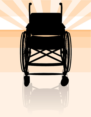 front wheel drive: Empty wheelchair silhouette front Illustration