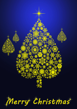 Merry Christmas tree on blue background photo