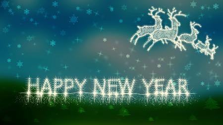 Happy New Year on turquoise background photo