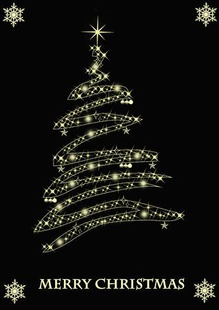 Merry Christmas golden tree photo