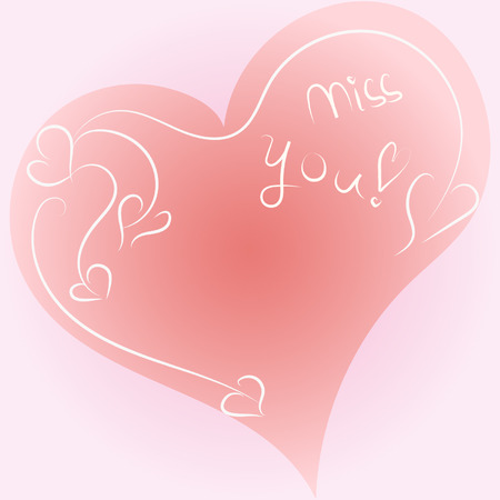 Beautiful I miss you card with a pink hand-drawn heart  Vector