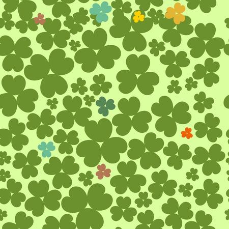 Shamrock leave cloverleaf grass seamless saint Patrick day pattern Vector