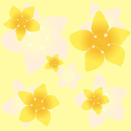 Floral background seamless pattern yellow plumeria Vector