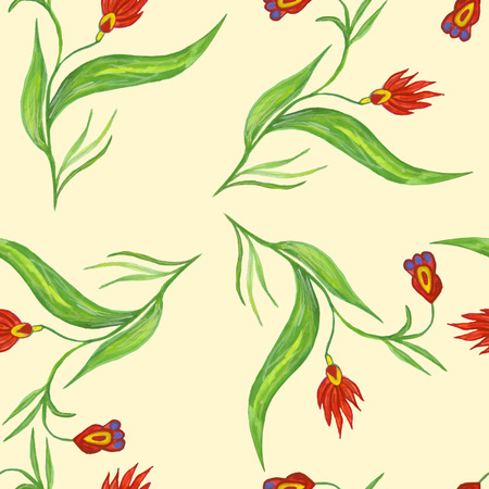 stalk: Seamless pattern with red flowers on a stalk