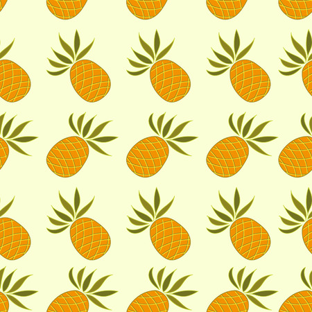Seamless pattern with pineapple on a light background Vector