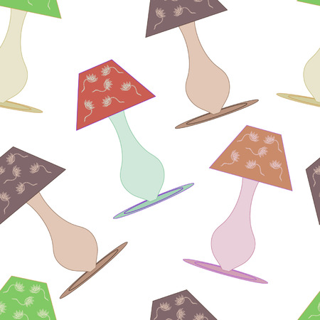 night table: seamless pattern with night table lamp