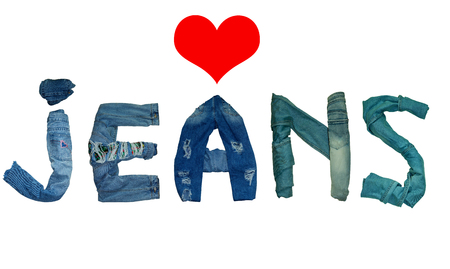 the word JEANS is lined with isolated jeans and denim letters and red heart