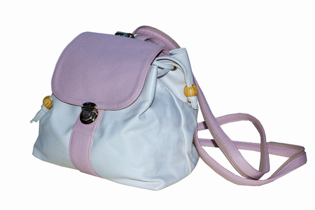womens backpack in soft pink color with straps and lockable lid