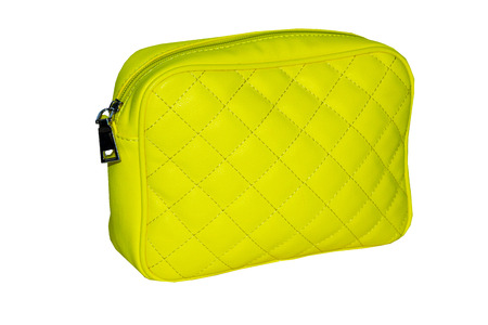 womens handbag lemon yellow with a pattern in the form of diamonds