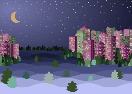 Evening crescent and stars, city downtown landscape, snow covered skyscrapers. Flat vector illustration. Merry Christmas & New Year night moon skyscrapers cityscape.