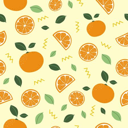 Citrus pattern. Orange. Seamless pattern background. Oranges texture vector. Stock Illustratie
