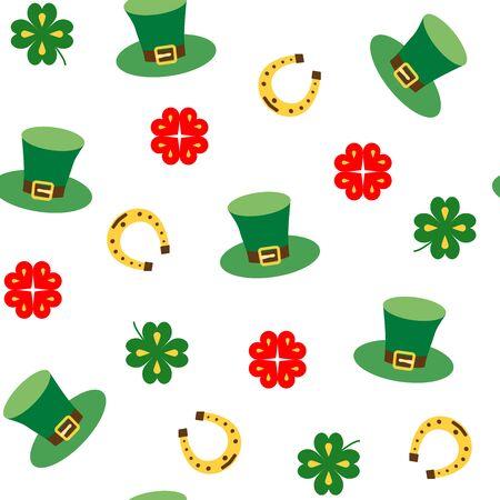 Bezszwowe wektor wzór z liści koniczyny, kapelusz i podkowy na szczęście. Nadruk tekstury St. Patricks Day. Poszczególne elementy na białym tle.