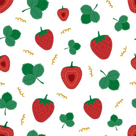 Red strawberries with leaves. Seamless pattern.