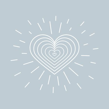 Heart and rays. Creative design concept for valentines day, mothers day, greeting cards for woman s day, declaration of love
