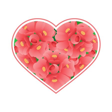 Heart filled with pink flowers on a white background. The item is suitable for decorating the various holidays of love, or love confession For greeting cards or invitations to events. Decoration.