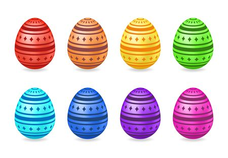 Set of gradient eggs with pattern. Vector illustration. Colored Easter eggs isolated on white background. Ideal for celebrating Easter designs, greeting cards, prints and more