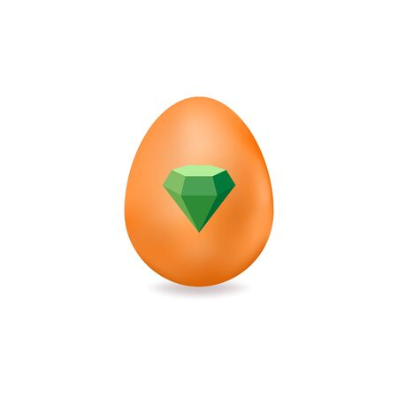 Easter egg with elements for St. Patricks Day. Vector illustration of colored egg with diamond isolated on white background. Ideal for holiday designs, greeting cards, prints, designer packaging, etc