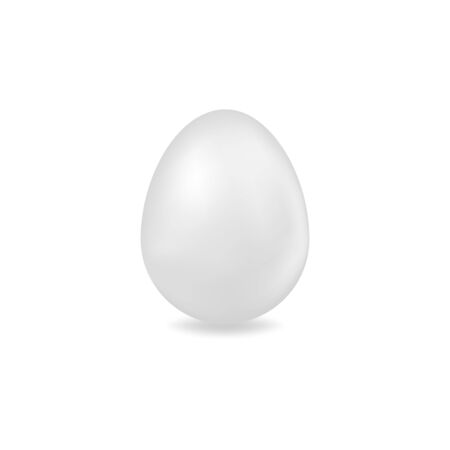 Vector 3D egg. Illustration of a white egg isolated with on a white background. Ideal for decoration of Easter holidays, cards, prints, designer packaging, menus, cookbooks etc.