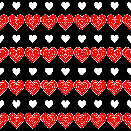 Seamless pattern of red and white hearts on a black background. Abstract striped illustration. Creative design background for greeting card, for packaging, wallpaper, for casino design, playing cards. Vectores