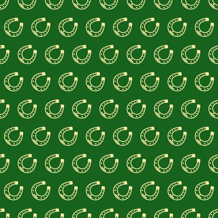 Seamless vector pattern with yellow, gold Horseshoe on green backdrop for St. Patrick's Day. Spring party background for greetings card, flyer, decor, packaging design and more. Ilustrace