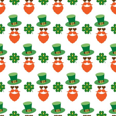 Seamless pattern for Patricks day with stylish print. Hat, beard, mustache, clover leaves for luck. Colored isolated elements on white background. Backdrop for holiday design, greeting, card, print. 矢量图像