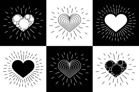 Creative design concept in the form of heart and rays for Valentine s day, mother s day, greeting cards for woman s day or love confession. Set. Love and healthy. Black and white.