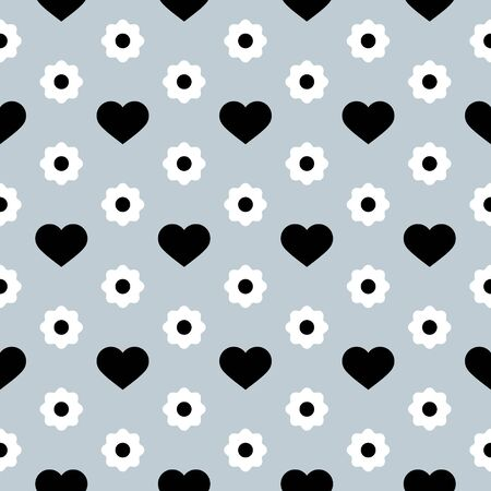 Vector Seamless Pattern. Black hearts and white flowers on a light grey background. Modern illustration great for festive background, design greeting cards, textiles, packing, wallpaper, etc.