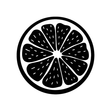 Juicy black-white citrus icon. Stock vector illustration. Isolated element on the background. For modern minimal creative design, banners, packages, covers, prints, menus, banners, stickers. Ilustración de vector