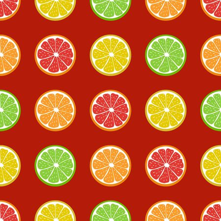 Pattern seamless of juicy citrus fruit. Lemon, orange, grapefruit, lime. Colorful elements on red background. Creative idea for modern designs, banners, textiles, menus, prints, packings, wallpapers.