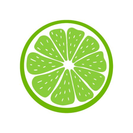 Juicy lime icon. Stock vector illustration. Bright colorful Isolated element on white background. For modern creative design, logos, banners, package, covers, prints, menus, stickers, etc.
